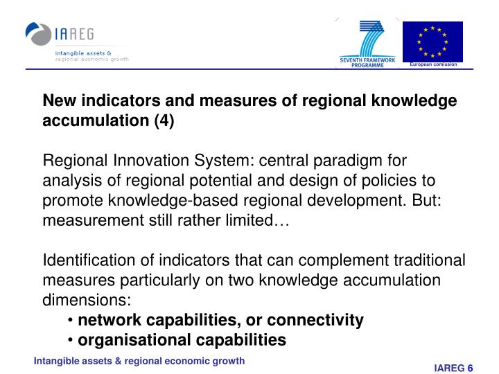 New indicators and measures of regional knowledge accumulation (4)