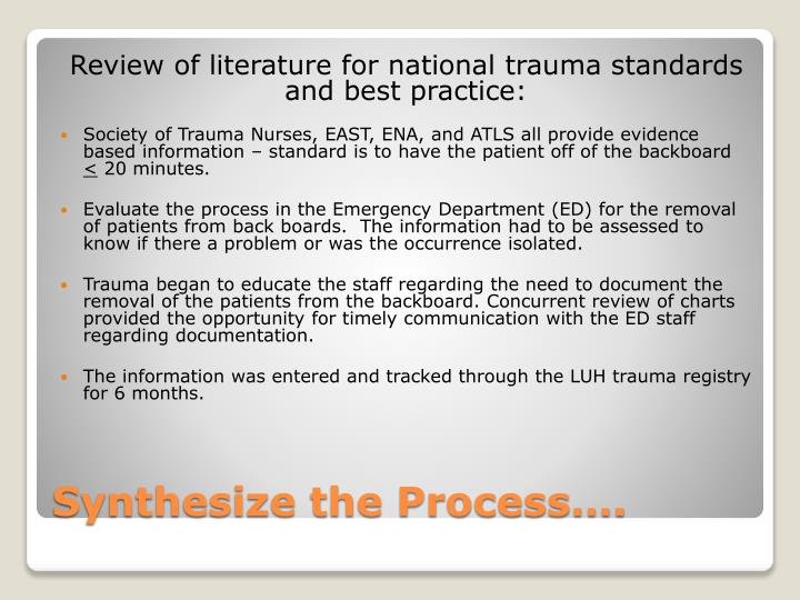 Review of literature for national trauma standards and best practice: