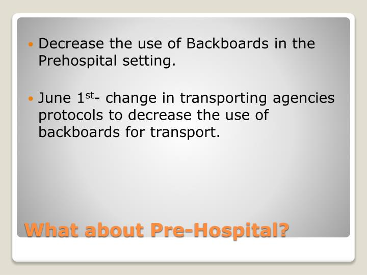 Decrease the use of Backboards in the Prehospital setting.