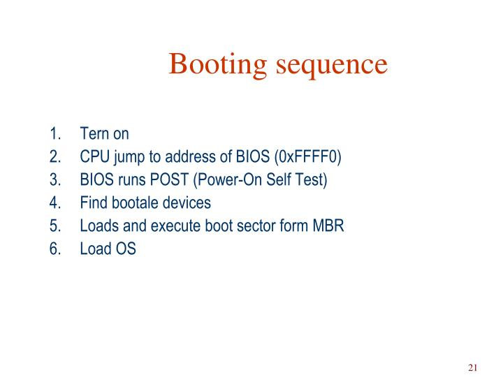 Booting sequence