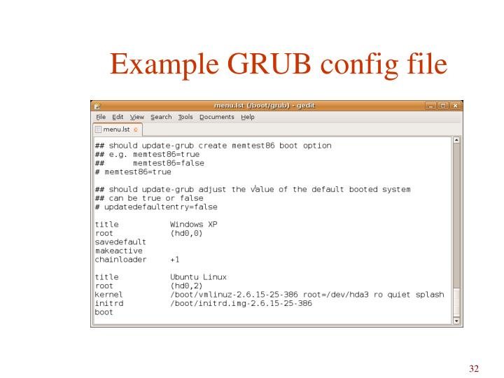 Example GRUB config file