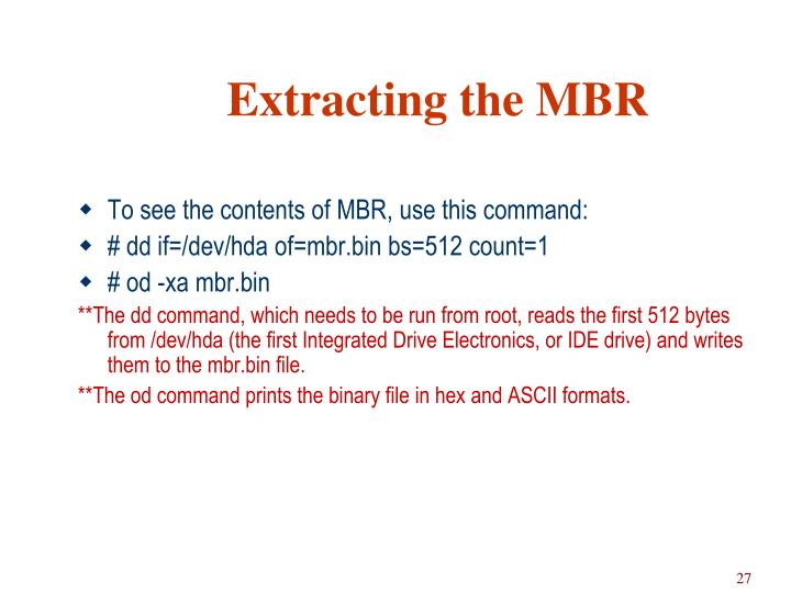Extracting the MBR