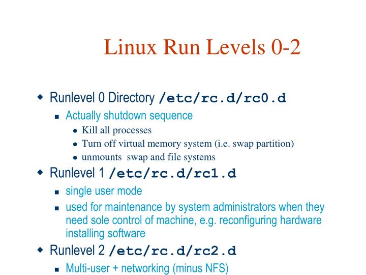 Linux Run Levels 0-2
