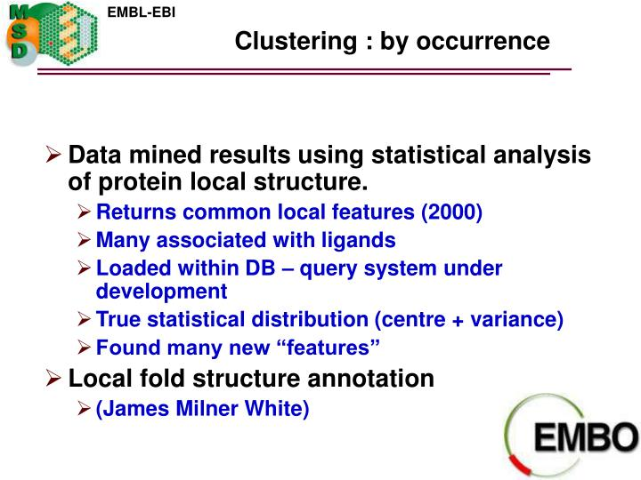 Clustering : by occurrence