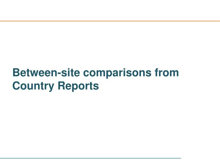 Between-site comparisons from Country Reports