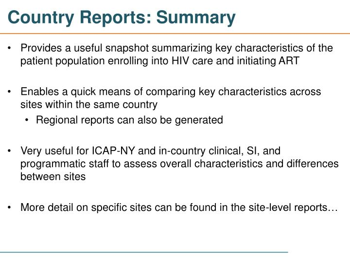 Country Reports: Summary