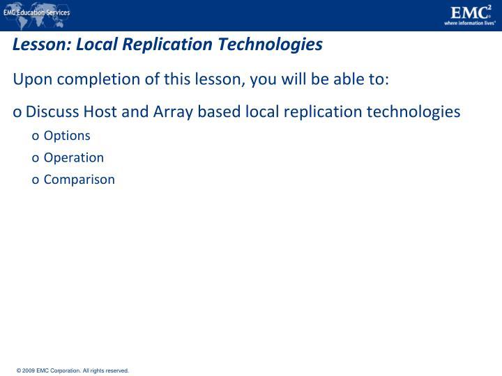 Lesson: Local Replication Technologies