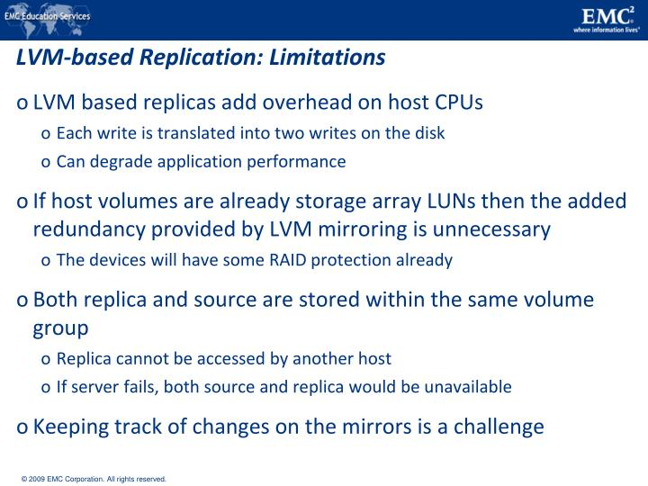 LVM-based Replication: Limitations
