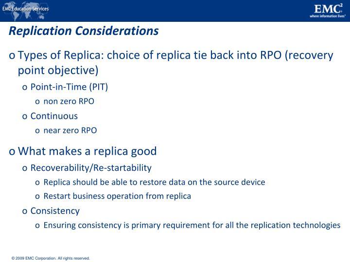 Replication Considerations
