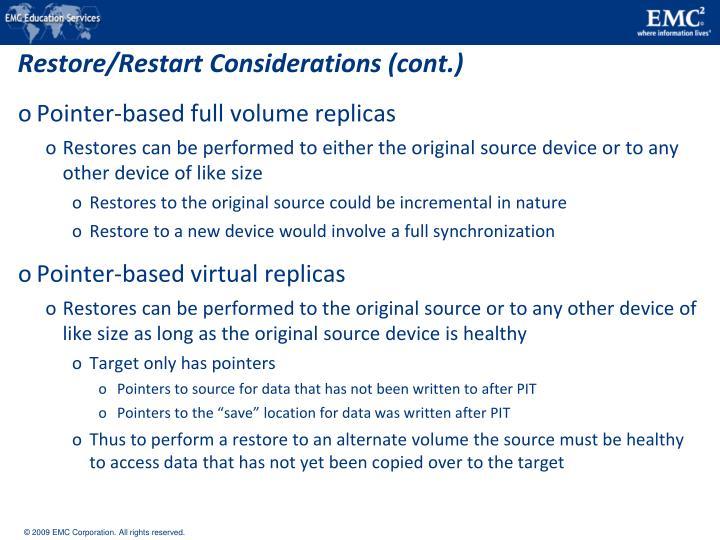 Restore/Restart Considerations (cont.)