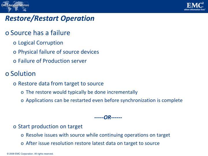 Restore/Restart Operation