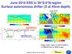 june 2010 sss in 30 s 0 n region surface autonomous drifter s at 45cm depth