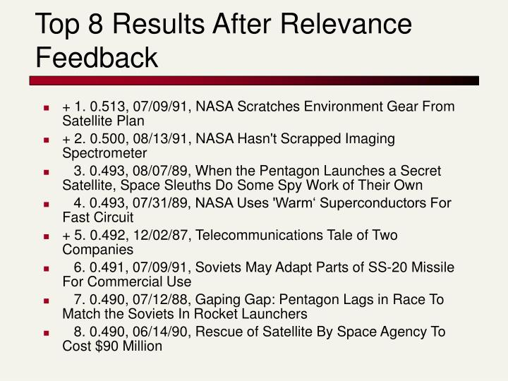 Top 8 Results After Relevance Feedback