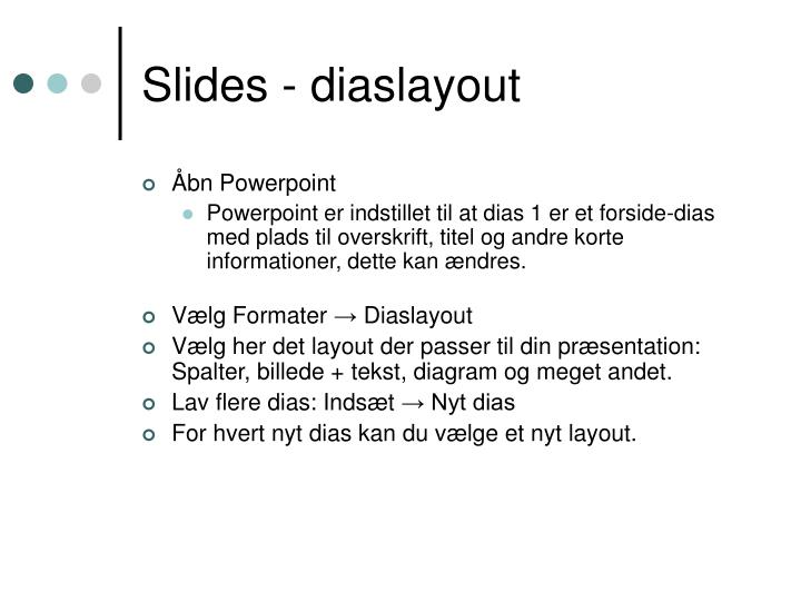 Slides - diaslayout