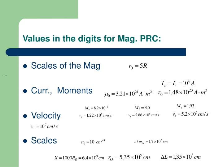 Values in the digits for Mag. PRC: