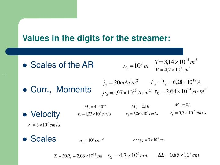 Values in the digits for the streamer: