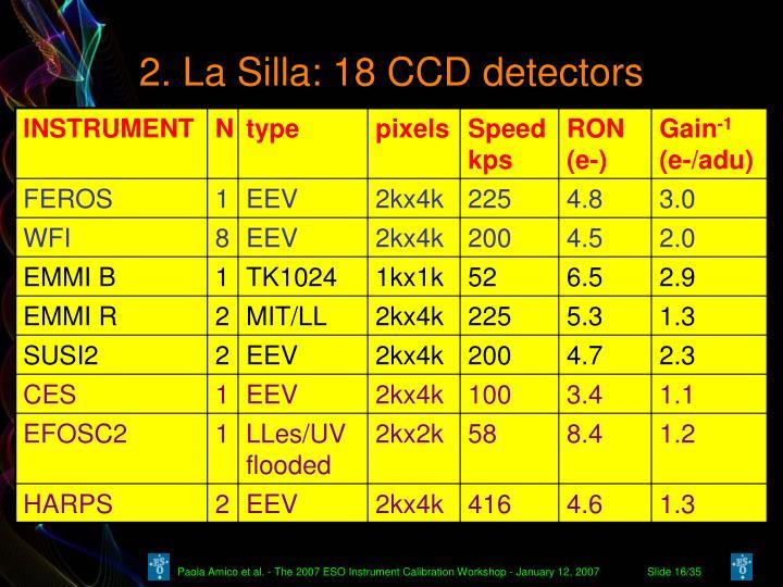 2. La Silla: 18 CCD detectors