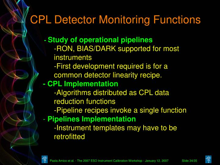 CPL Detector Monitoring Functions