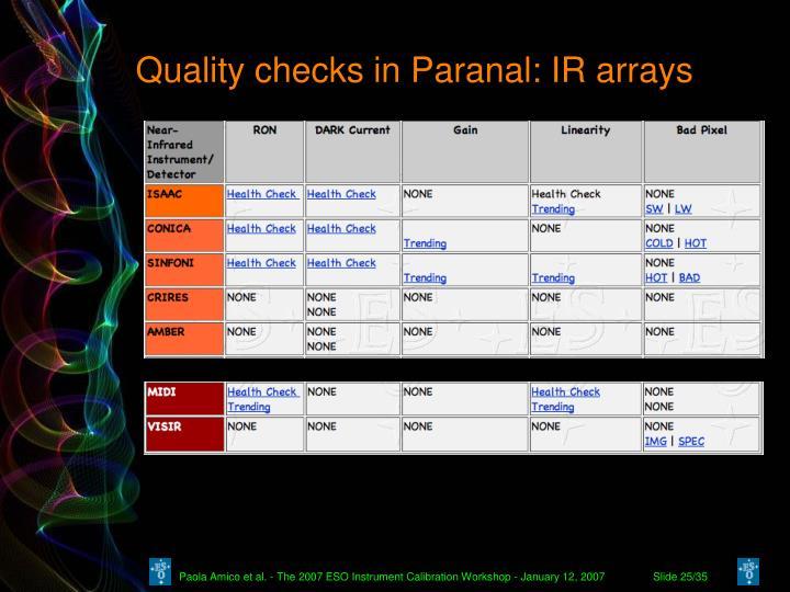 Quality checks in Paranal: IR arrays