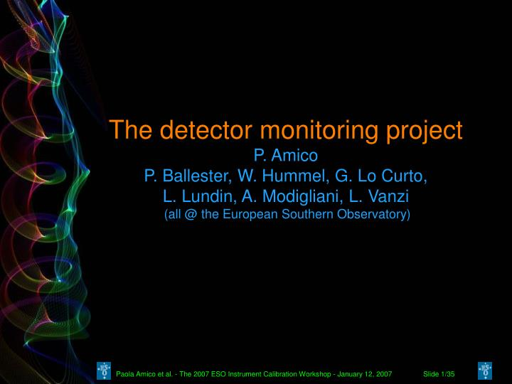 The detector monitoring project