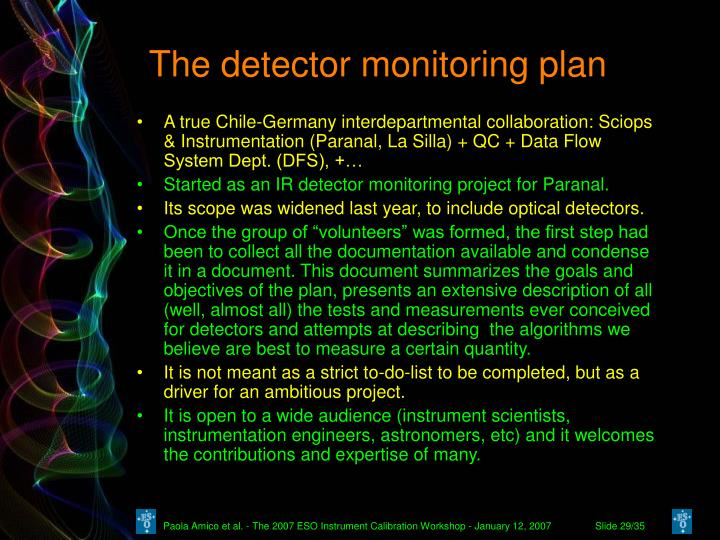 The detector monitoring plan