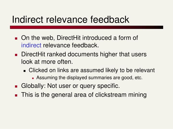Indirect relevance feedback