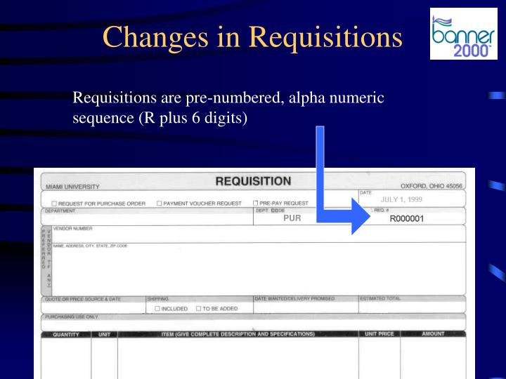 Changes in requisitions1