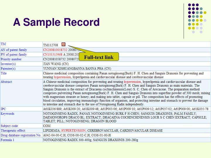 A Sample Record