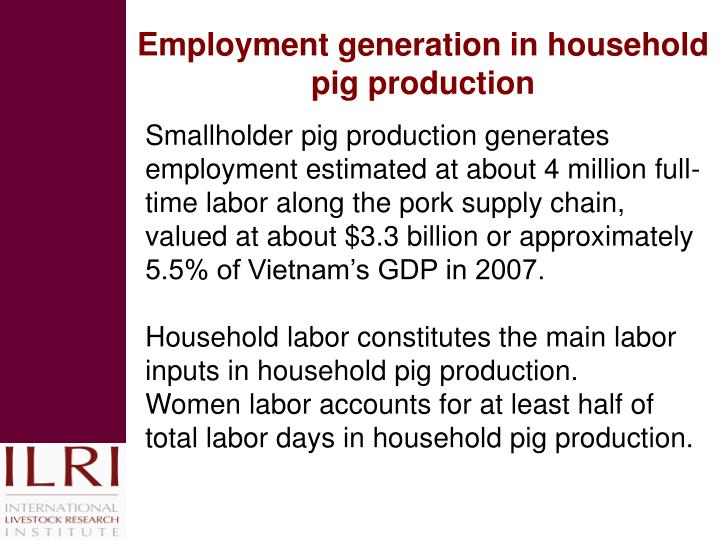 Employment generation in household pig production