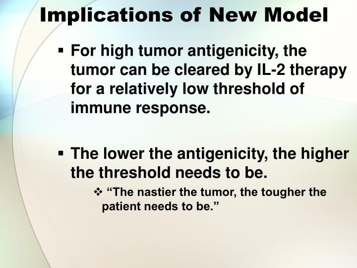 Implications of New Model