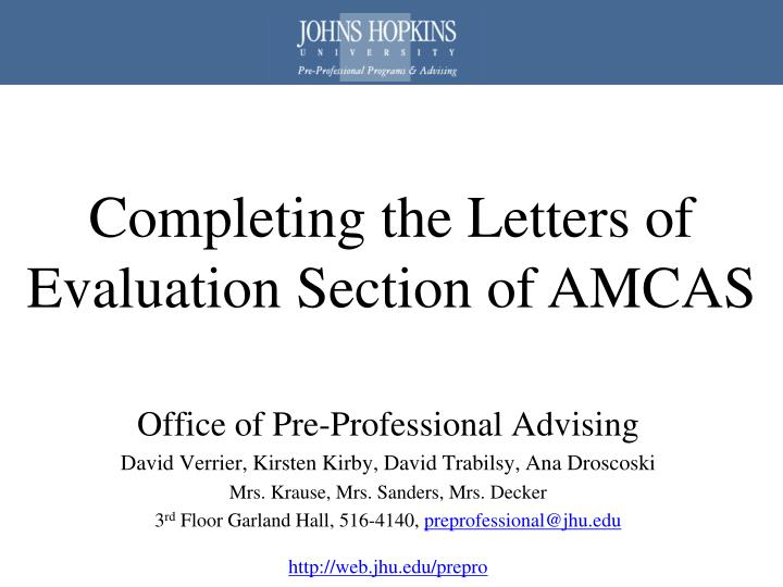 Completing the Letters of Evaluation Section of AMCAS