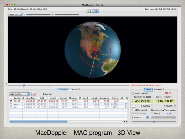 MacDoppler - MAC program - 3D View