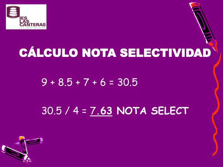CÁLCULO NOTA SELECTIVIDAD