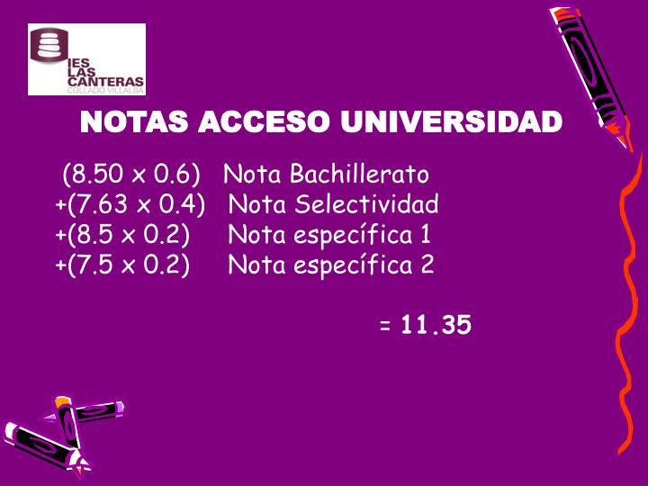 NOTAS ACCESO UNIVERSIDAD