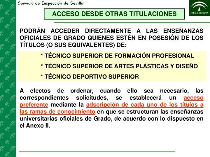 ACCESO DESDE OTRAS TITULACIONES