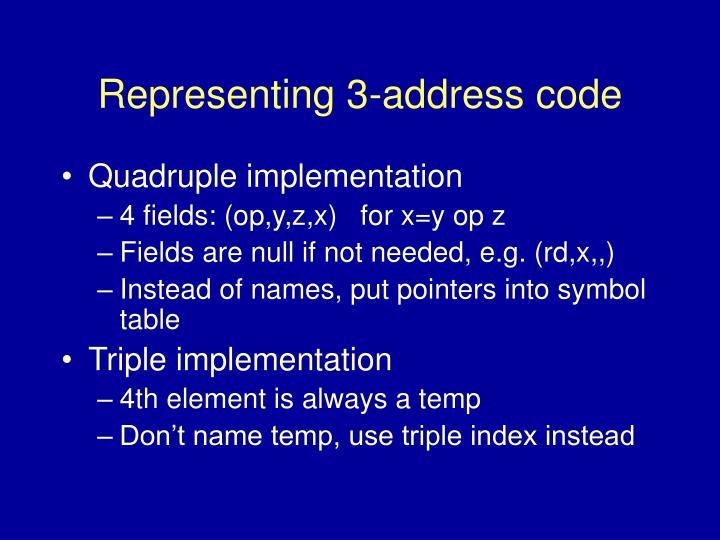 Representing 3-address code