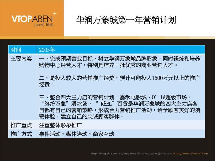 华润万象城第一年营销计划