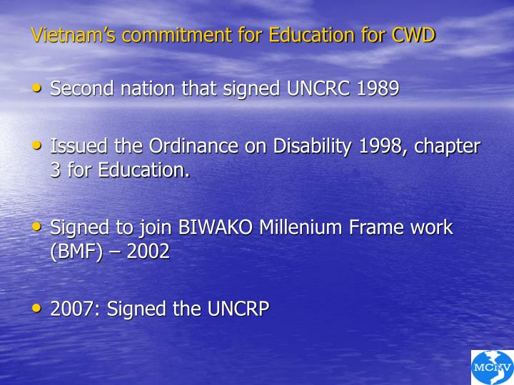 Vietnam's commitment for Education for CWD