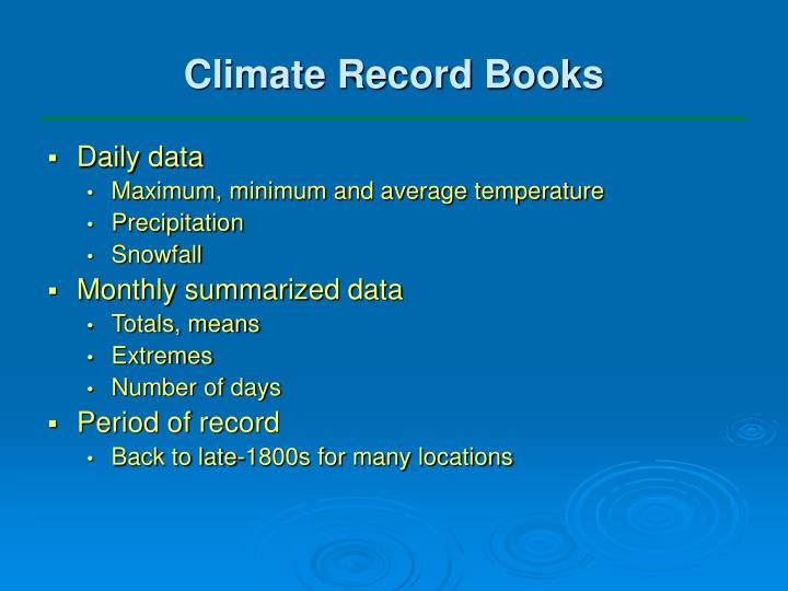 Climate Record Books