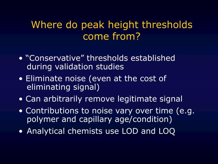 Where do peak height thresholds come from?