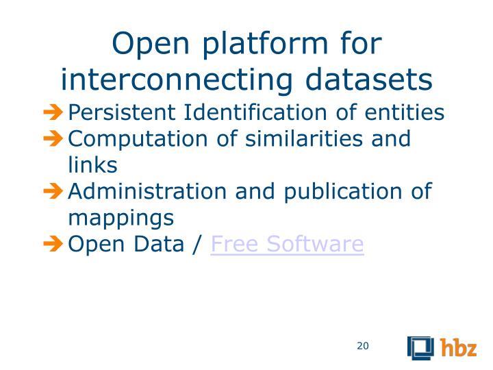 Open platform for interconnecting datasets