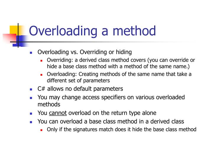Overloading a method
