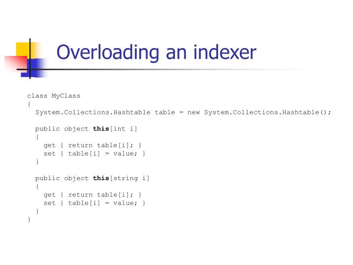 Overloading an indexer