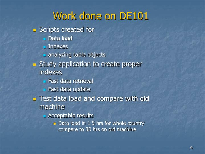 Work done on DE101