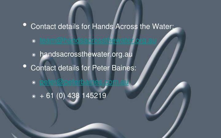 Contact details for Hands Across the Water: