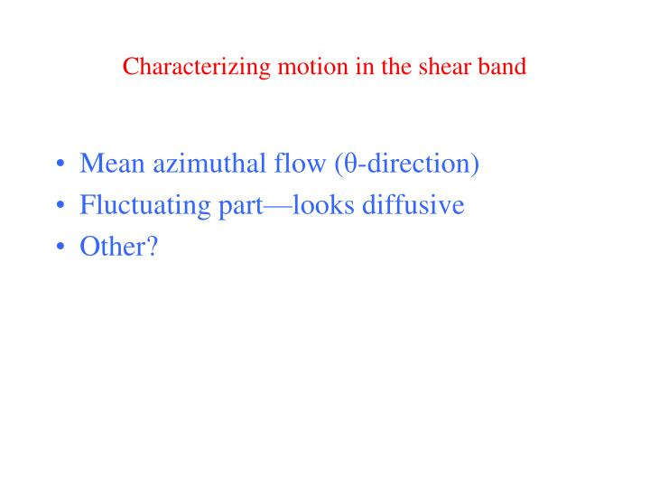 Characterizing motion in the shear band