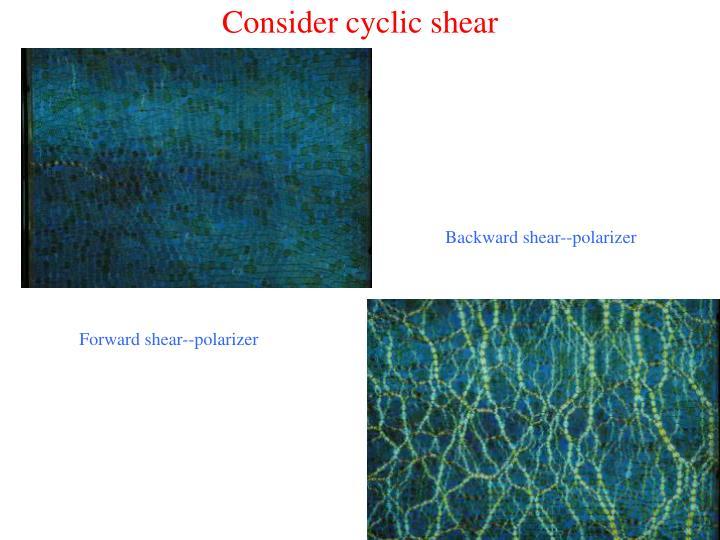 Consider cyclic shear