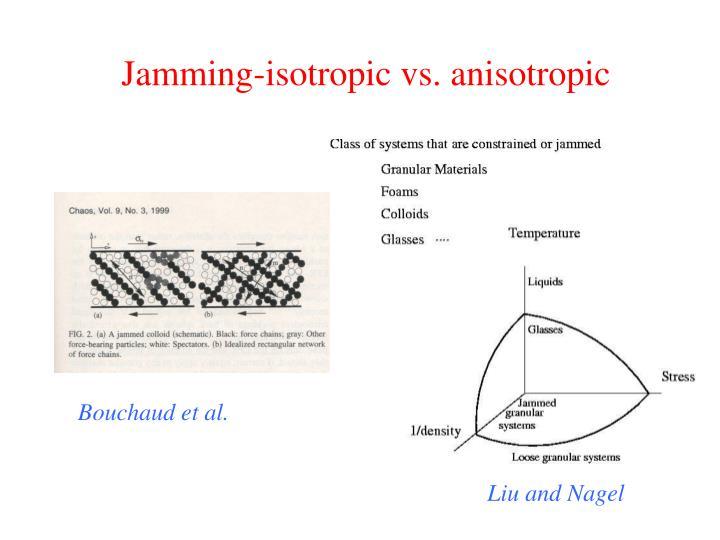 Jamming-isotropic vs. anisotropic