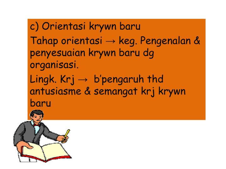 c) Orientasi krywn baru