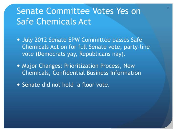 Senate Committee Votes Yes on Safe Chemicals Act